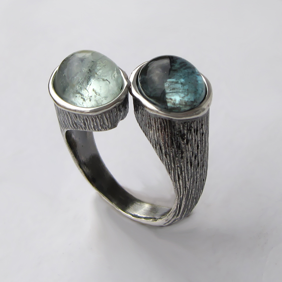 Кольцо из серебра с аквамарином, арт. САТОВ3