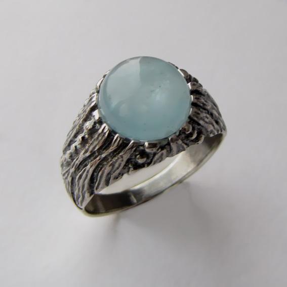Серебряное кольцо с аквамарином, арт. ЭТ32