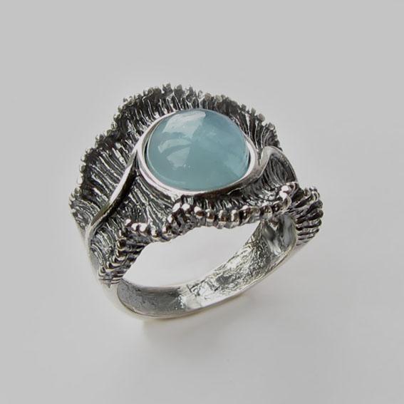 Серебряное кольцо с аквамарином, арт.ВОЛ32