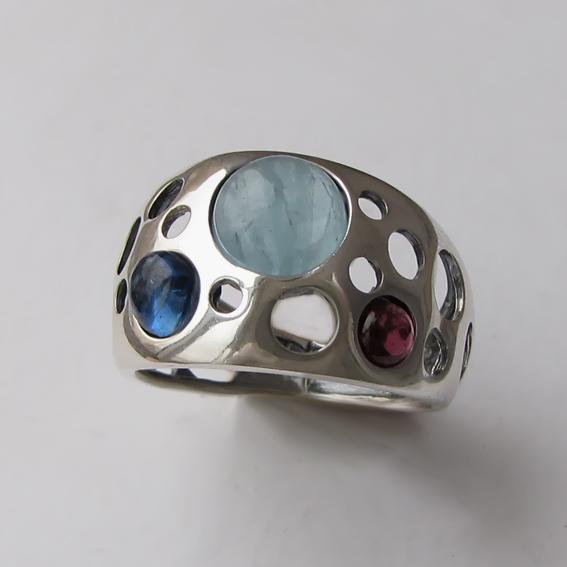 Кольцо с аквамарином, кианитом,, гранатом, арт. НЛ3