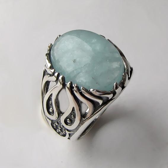 Серебряное кольцо с аквамарином, арт. ОГ3