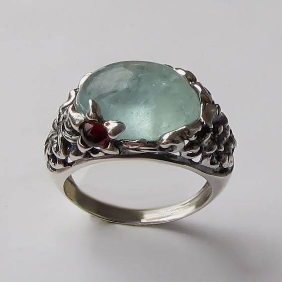 Кольцо серебряное с аквамарином, арт. ВЯ3