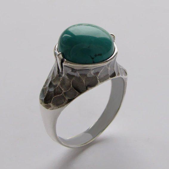 Кольцо серебряное с бирюзой, арт.КУВ3