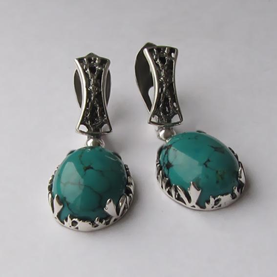 Серебряные серьги с бирюзой, арт. ЛИ412
