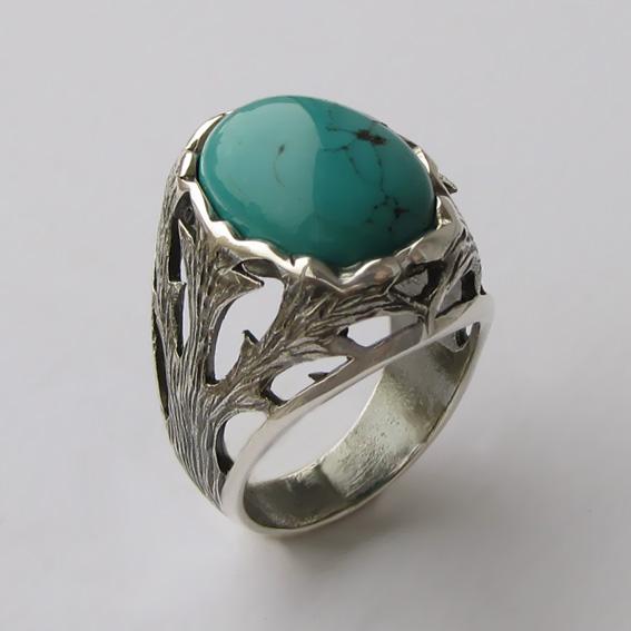 Кольцо серебряное с бирюзой, арт.ЛИН312