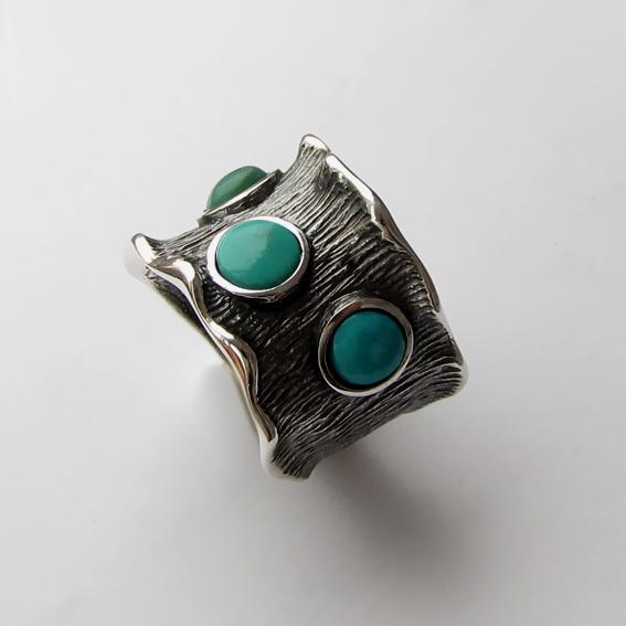 Кольцо с бирюзой, арт. ВОЛ36