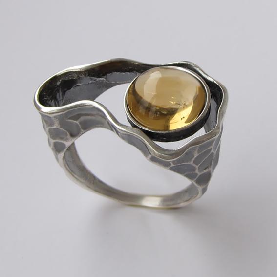 Кольцо из серебра с цитрином, арт.СДН3