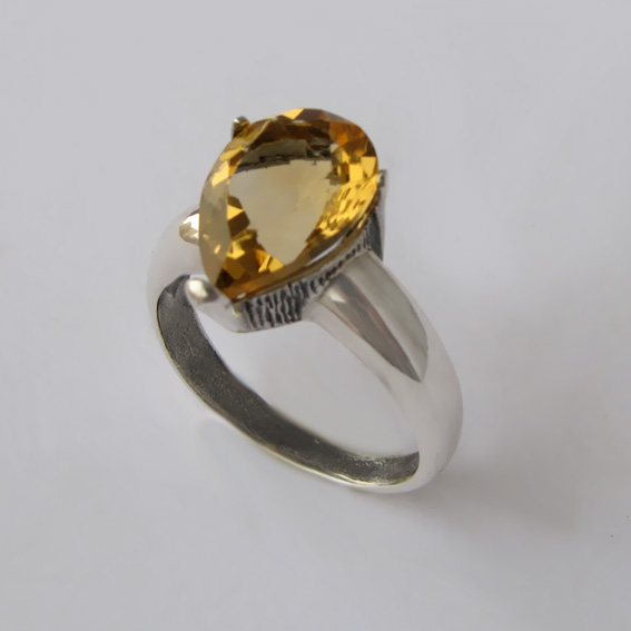 Кольцо с цитрином, арт.СЛГ310