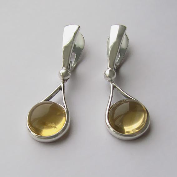 Серьги из серебра с цитрином, арт. ИКАП4Н