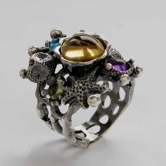 Кольцо с цитрином, топазом, хризолитом, арт. МЗ3