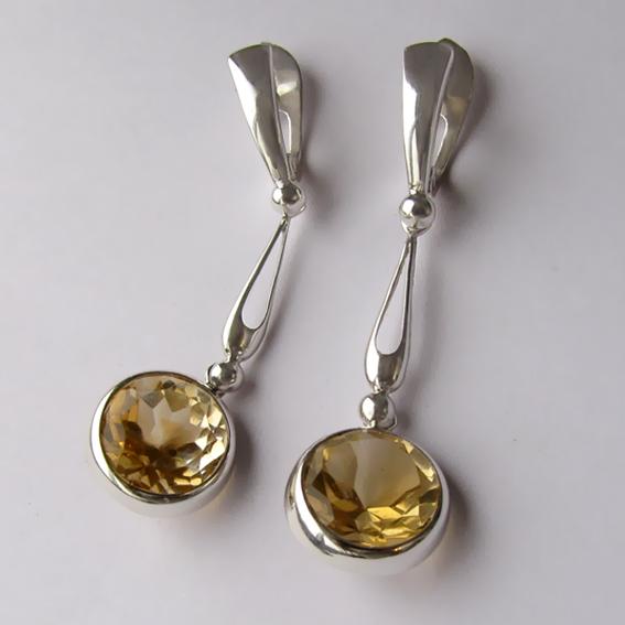 Серебряные серьги с цитрином, арт. НКД4Г