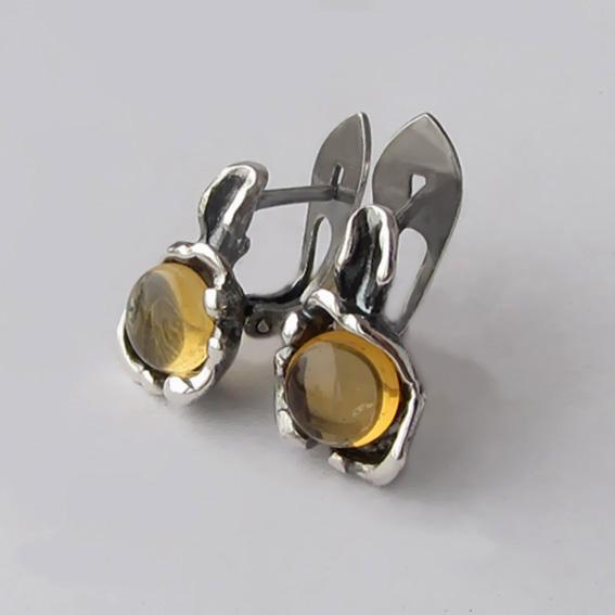 Серебряные серьги с цитрином, арт. ВОД4П