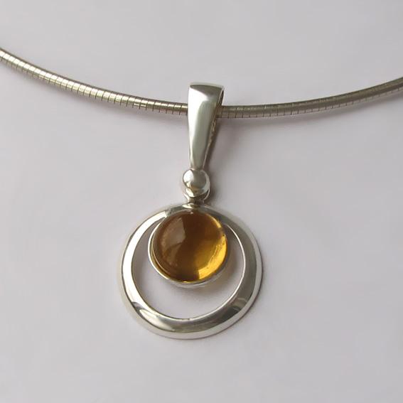 Кулон серебряный с цитрином, арт. КК18