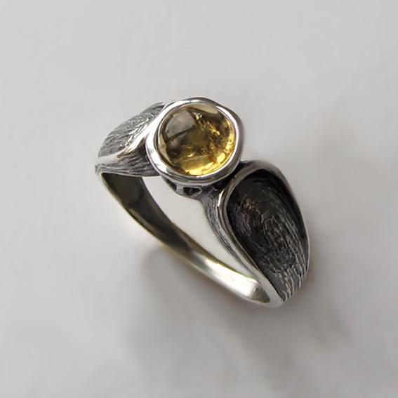 Кольцо серебряное с цитрином, арт. ПФЧ36
