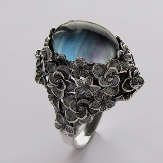 Кольцо серебряное с флюоритом, арт.БУК3