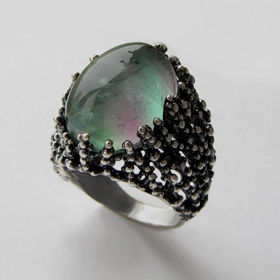 Кольцо из серебра с флюоритом, арт. ГАУ313