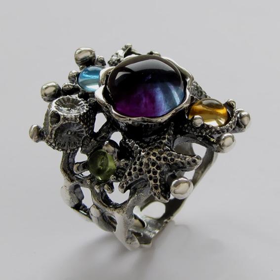 Кольцо с флюоритом, цитрином, топазом, хризолитом, арт. МЗ3
