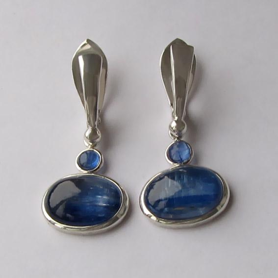 Серебряные серьги с кианитом, арт. ОВП410