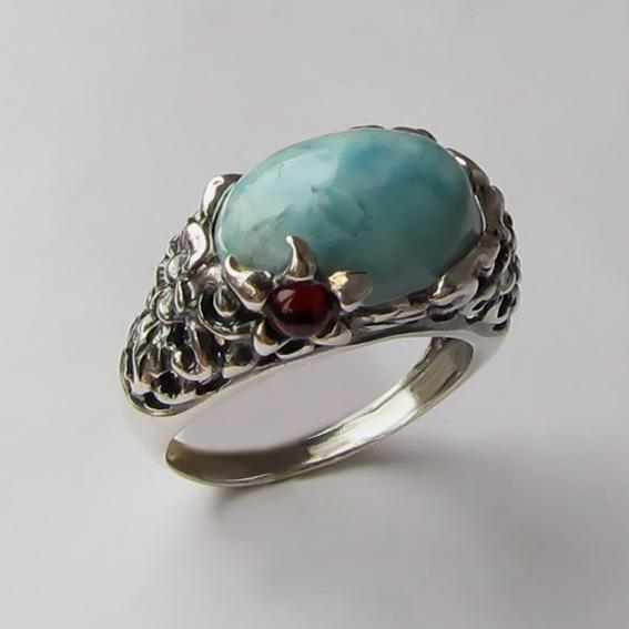 Кольцо из серебра с ларимаром, арт. ВЯ3