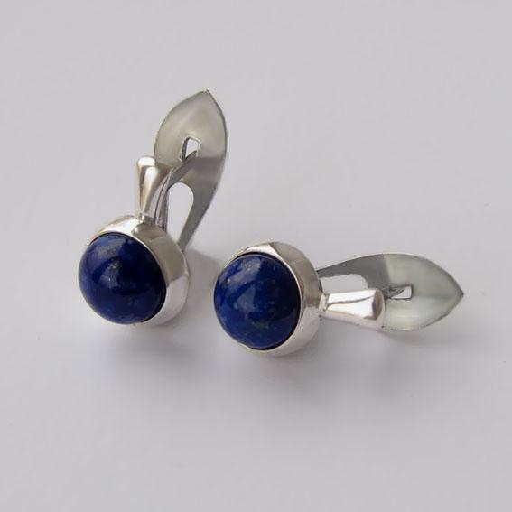 Серебряные серьги с лазуритом, арт.НЗ4П