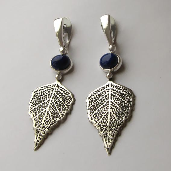 Серьги серебряные с лазуритом, арт. ЛИС4Б