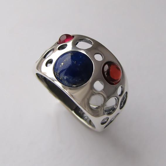Кольцо с лазуритом, гранатом, арт. НЛ3