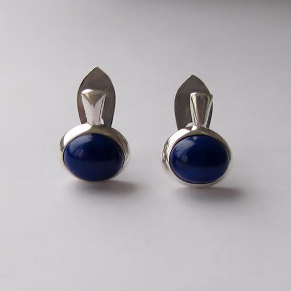 Серебряные серьги с лазуритом, арт.НЗОВ49П