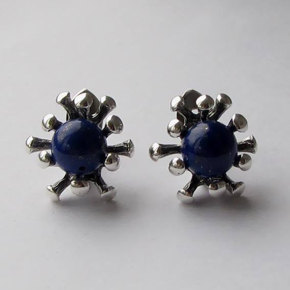 Серебряные серьги с лазуритом, арт. Р4П
