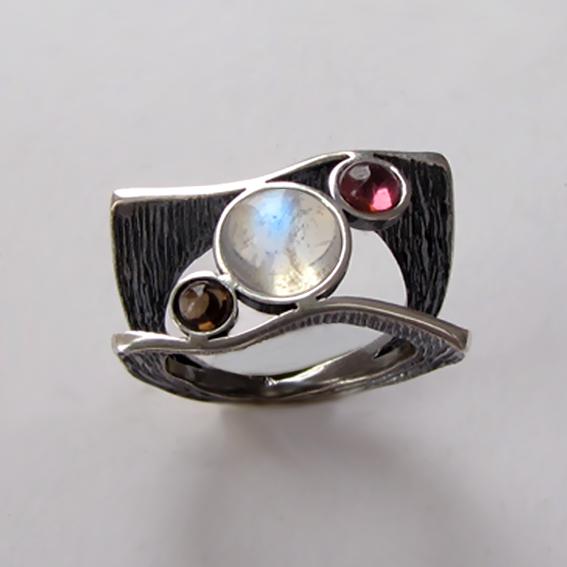 Кольцо с лунным камнем, турмалином, раухтопазом ЧАЙК3