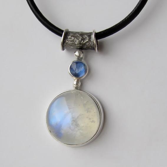 Кулон с лунным камнем, кианитом, арт. НКК120