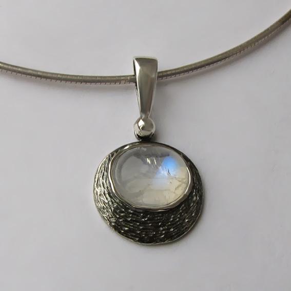Кулон из серебра с лунным камнем, арт. КЧОВ1
