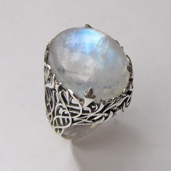 Кольцо с лунным камнем, арт. ЛИ315