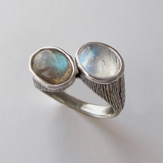 Кольцо с лунным камнем, лабрадором САТОВ3