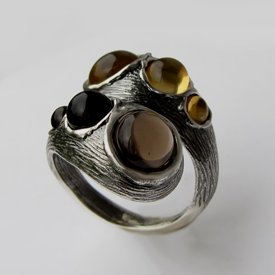 Кольцо цитрином, раухтопазом, арт.2ЛА3