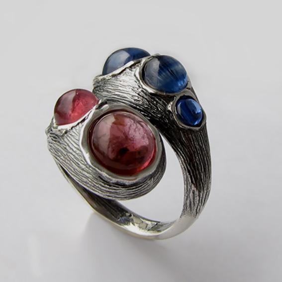 Кольцо турмалином розовым, кианитом, арт.2ЛА3