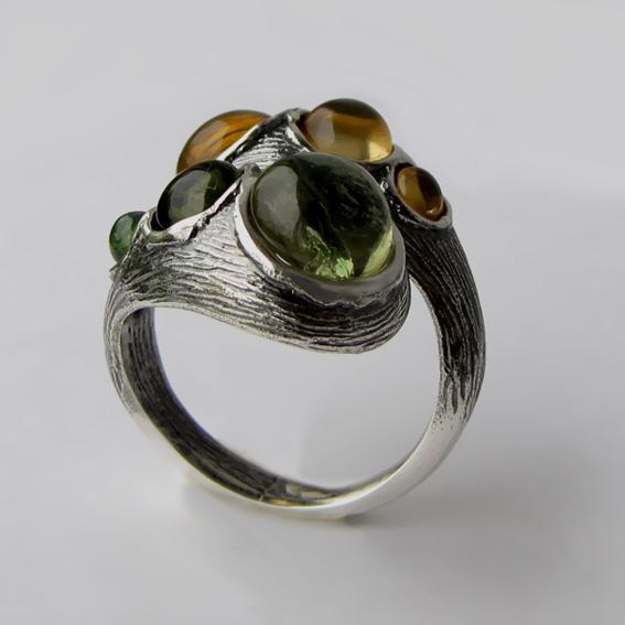 Кольцо цитрином, турмалином, арт.2ЛА3