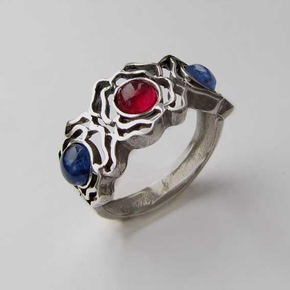 Кольцо с кианитом, турмалином, арт.3ОР3