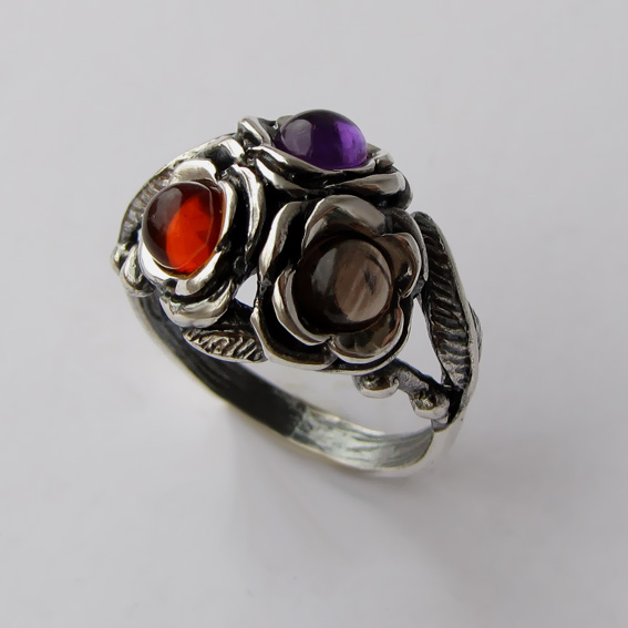 Кольцо с аметистом, раухтопазом, янтарем, арт. 3ЦВ3