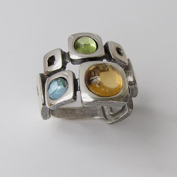 Кольцо с цитрином, топазом, хризолитом, арт. 8КВ3