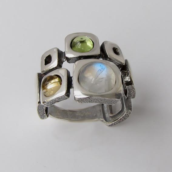 Кольцо с лунным камнем, цитрином, хризолитом, арт. 8КВ3