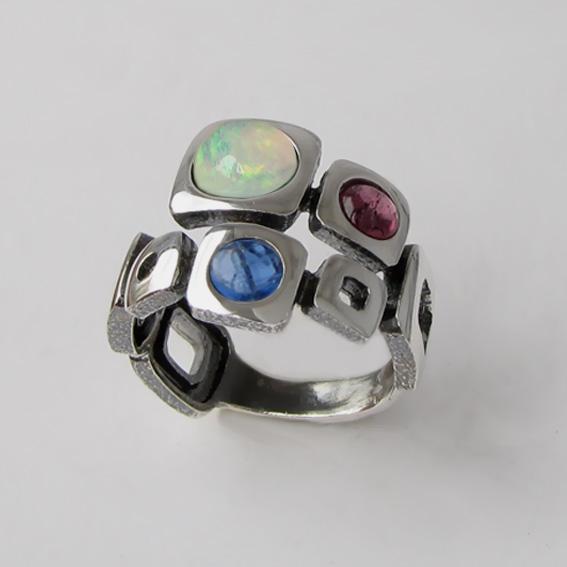Кольцо с опалом, кианитом, турмалином, арт. 8КВ3Х