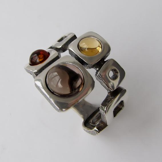 Кольцо с раухтопазом, цитрином, янтарем, арт. 8КВ3