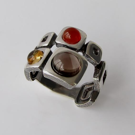 Кольцо с раухтопазом, цитрином, сердоликом, арт. 8КВ3
