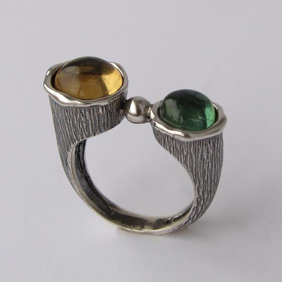 Кольцо с цитрином, турмалином, арт.САТЧ3П