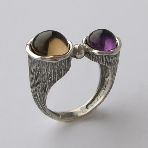 Кольцо с раухтопазом, аметистом, арт.САТЧ3П