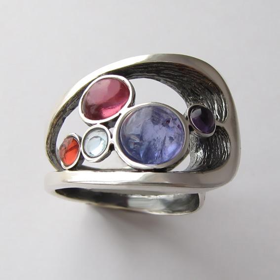 Кольцо с танзанитом, турмалином, аметистом, топазом НЛН37