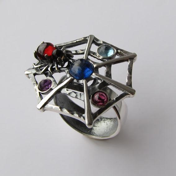 Кольцо с кианитом, турмалином, топазом, аметистом, арт.ПАУ3