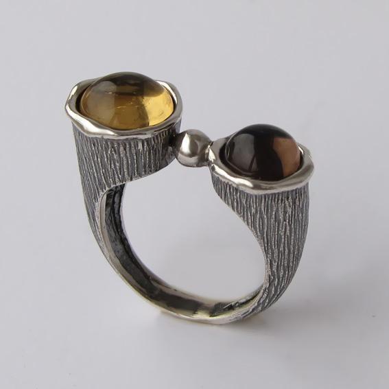 Кольцо с раухтопазом, цитрином, арт.САТЧ3П