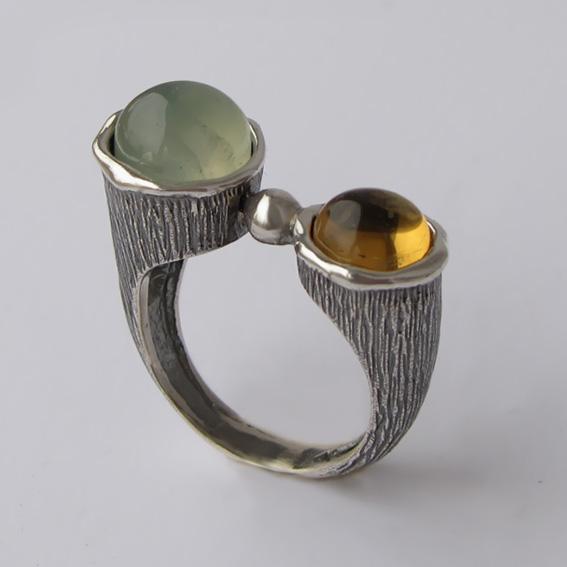 Кольцо с пренитом, цитрином, арт.САТЧ3П