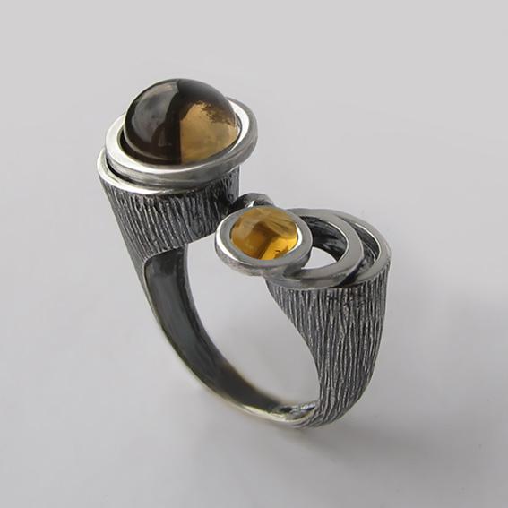 Кольцо с раухтопазом, цитрином, арт.САТ3Ч